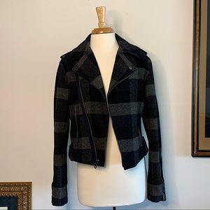 Plaid wool asymmetrical jacket